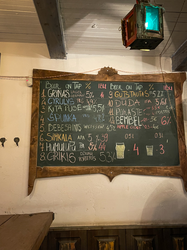 menu at spunka bar in vilnius