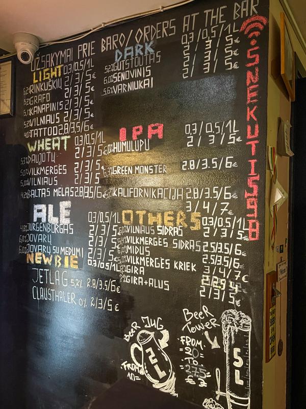 beer menu at snekutis bar in vilnius