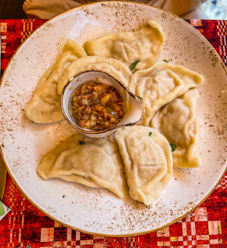Lithuanian dumplings with bacon sauce