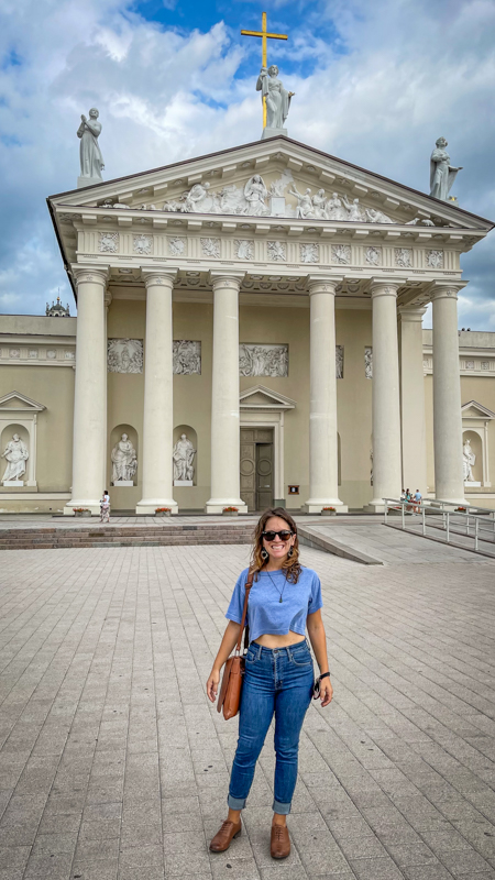 standing in front of Vilnius Cathedral