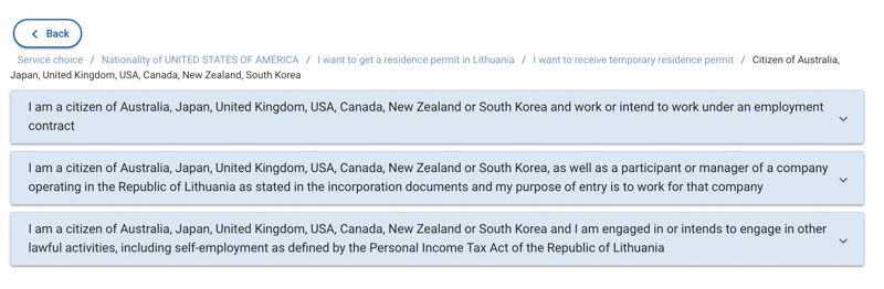The three options available on the lithuanian immigration website for residency