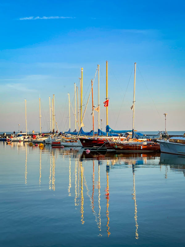 boats in the curonian lagoon in Lithuania